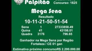MEGASENA CONCURSO 1825 07062016