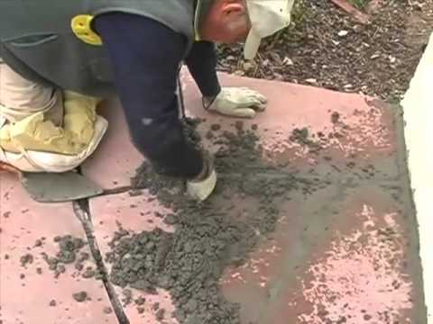 Grouting Flagstone and Tucking in Cement