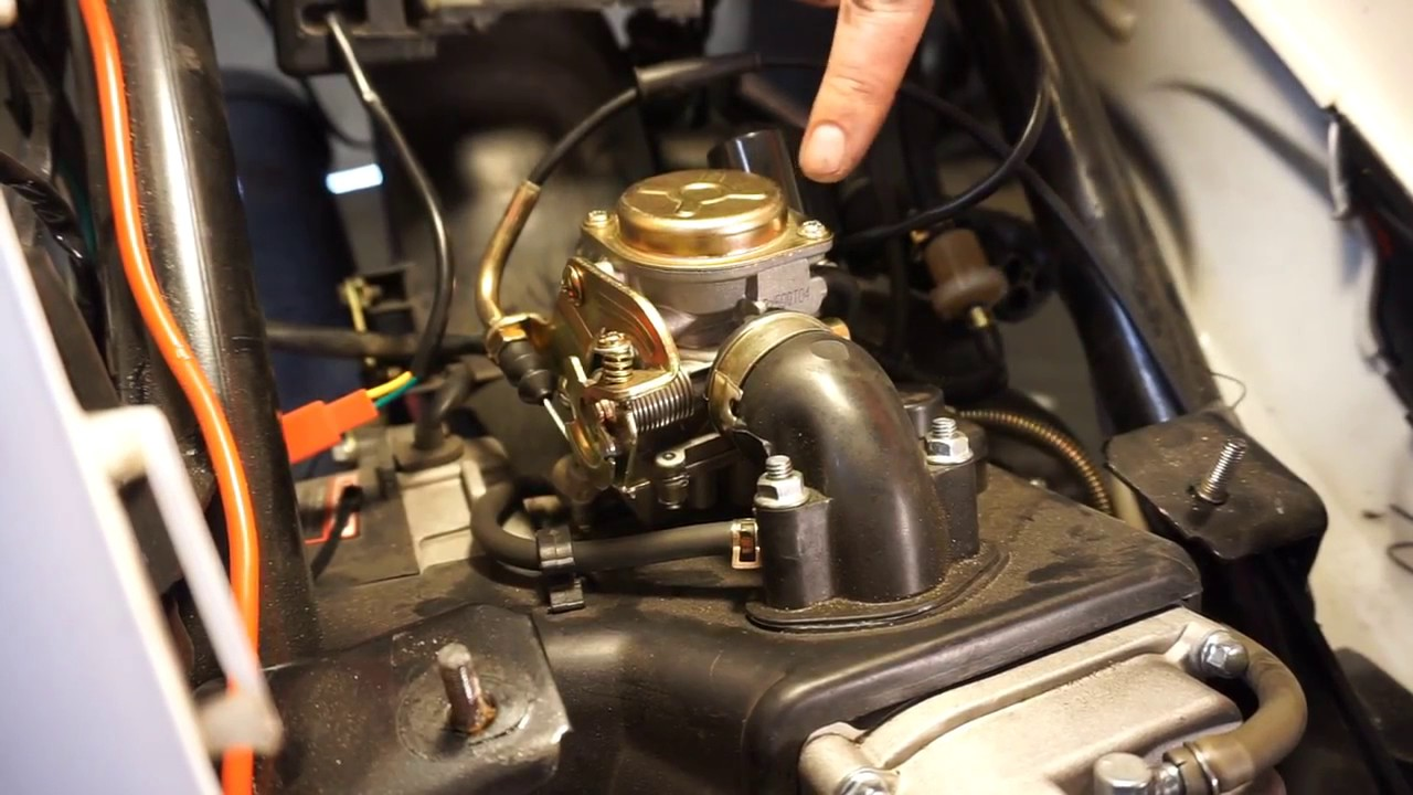 50cc or 150cc gy6 scooter carburetor installation [ 1280 x 720 Pixel ]