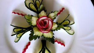 Cucumber flower with radish by Delicious food recipes