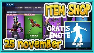 Fortnite ITEM SHOP 25 November *NIEUWE SKINS* NARA & TARO skins + GRATIS EMOTE (HOT MARAT)