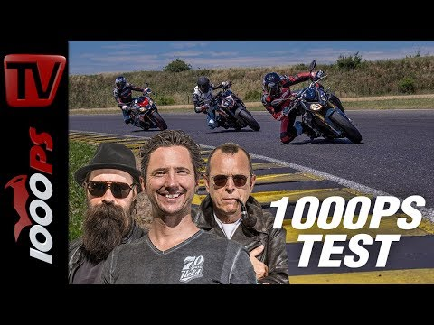 1000PS Test - Power Naked Bike comparison - Tuono vs Super Duke, S1000R, Street Triple RS and MT-10