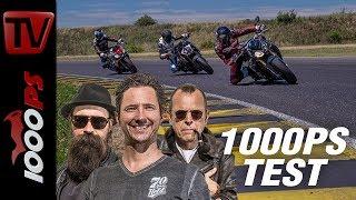 1000PS Test - Power Nakedbike Vergleich - Tuono gegen SuperDuke, S1000R, Street Triple RS und MT10