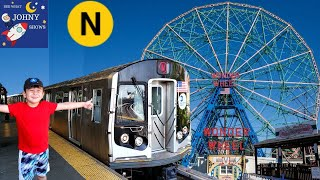 Johny's MTA Subway Train Ride To Coney Island Rides On The N Subway Train