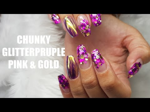 HOW TO ACRYLIC NAIL RE DESIGN PURPLE PINK
