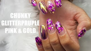 HOW TO ACRYLIC NAIL RE DESIGN PURPLE PINK AND GOLD CHUNKY GLITTER