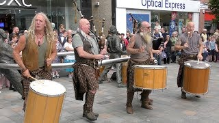 Clanadonia Keepin' it tribal with Spanish Eyes in Perth City centre, Scotland, August 2018