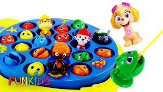 Paw Patrol Plays with Let's Go Fishing with Color Fish Toys