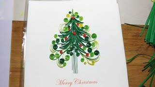 DIY Pine  Merry Christmas Card - Handmade Quilling Card - Paper Quilling Flower Art
