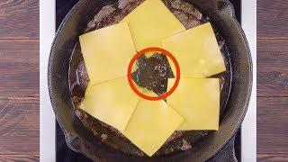 Packe 6 Käsescheiben in die Pfanne. Wo sie dann rauf k...