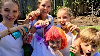 Learn English Colors! Rainbow Painting Hair Spray With Sign Post Kids!