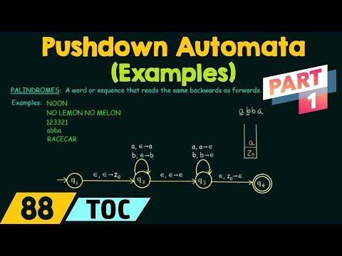 Pushdown Automata Example (Even Palindrome) PART-1