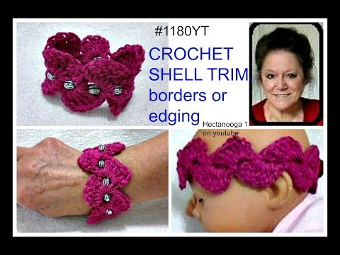 Crochet Pattern - pink shell trim, for bracelet or headband, or lace trim or borders