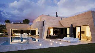 Проект дома в стиле модернизм. Дом с бассейном, террасой, балконом и кабинетом. Ремстройсервис ART-8