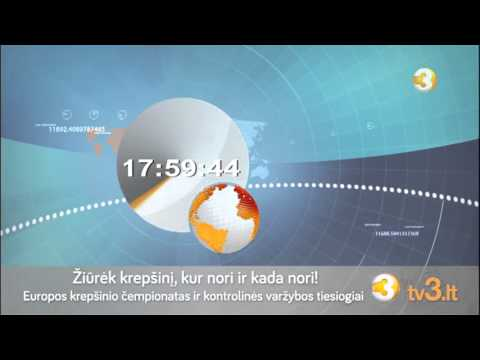 TV3 (Lithuania) - 27/08/2015 News clock (24 sec.) + ident