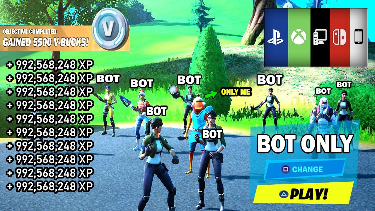Playing All Bots In Fortnite Easy How To Get Into Full Bot Lobbies In Fortnite Chapter 2 Season 5 Ps Xbox Pc Bots Lobby Glitch Youtube
