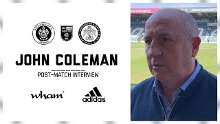 INTERVIEW: Coley's reaction on the defeat to Rochdale
