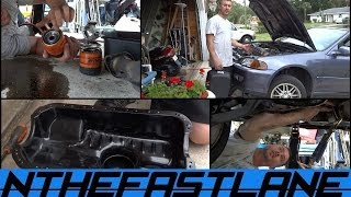Replacing Honda Civic 92-00 Oil Pan Gasket,Changing The Filter & Sealing Exhaust System