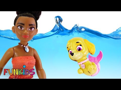 Paw Patrol Become Merpups & Moana in Swimming pool with Orbeez