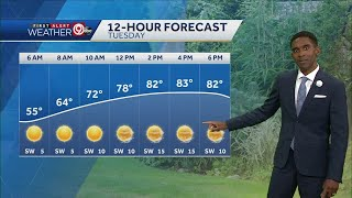 Tuesday will be warmer with highs in the low 80s