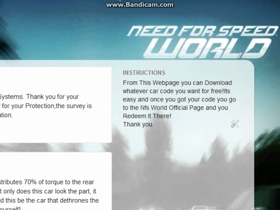 Need for Speed World - Free Redeem Car Codes! - YouTube