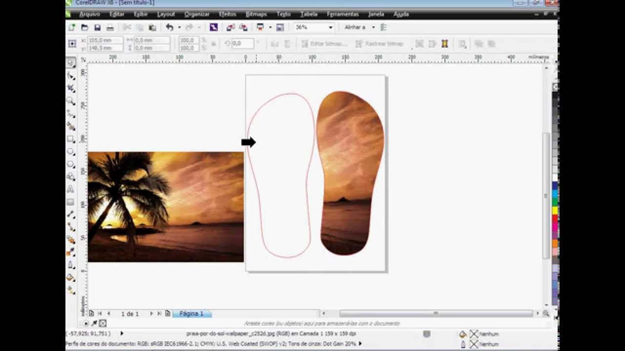 77518f620 Como fazer chinelo Personalizado no Corel Draw - YouTube