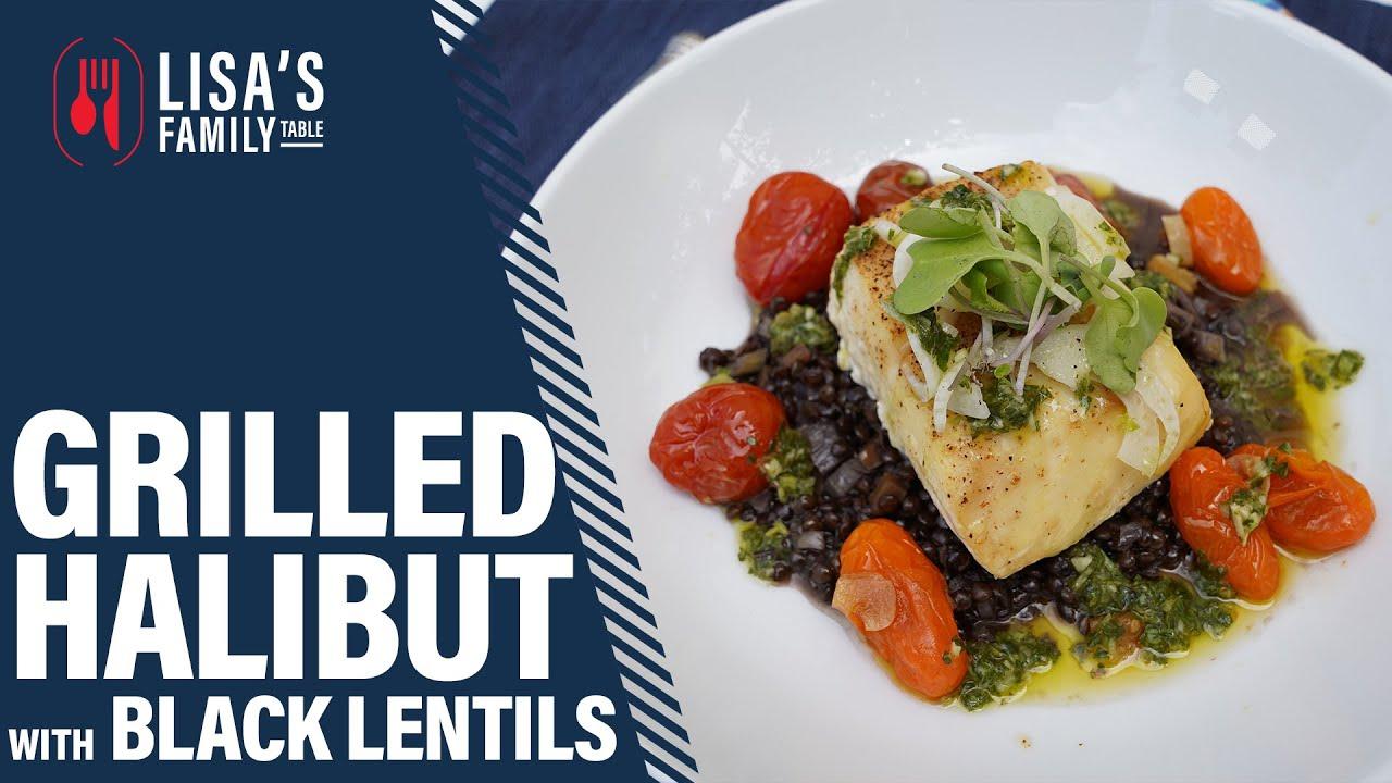 Grilled Alder Planked Halibut with Black Lentils