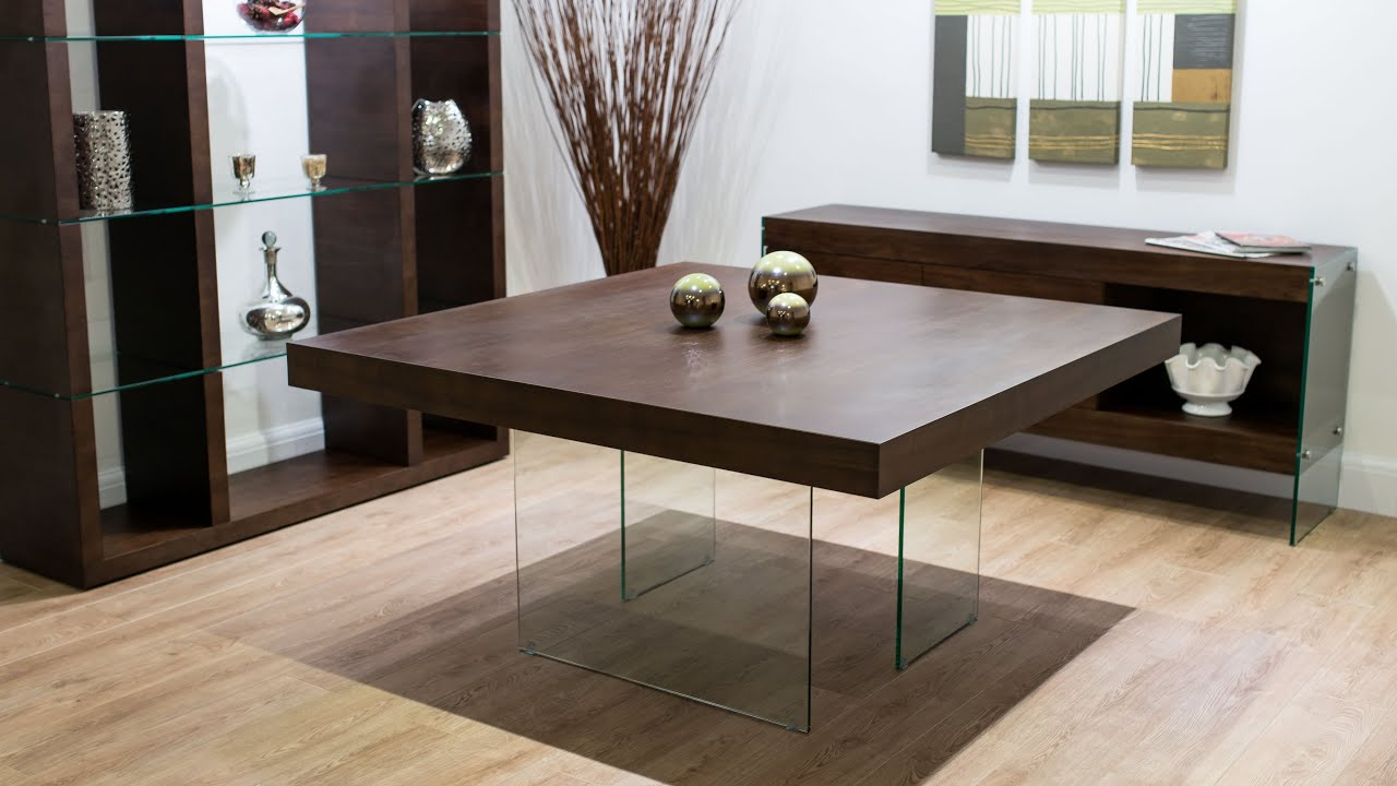 Aria espresso dark wood and glass square dining table for Large dark wood dining table