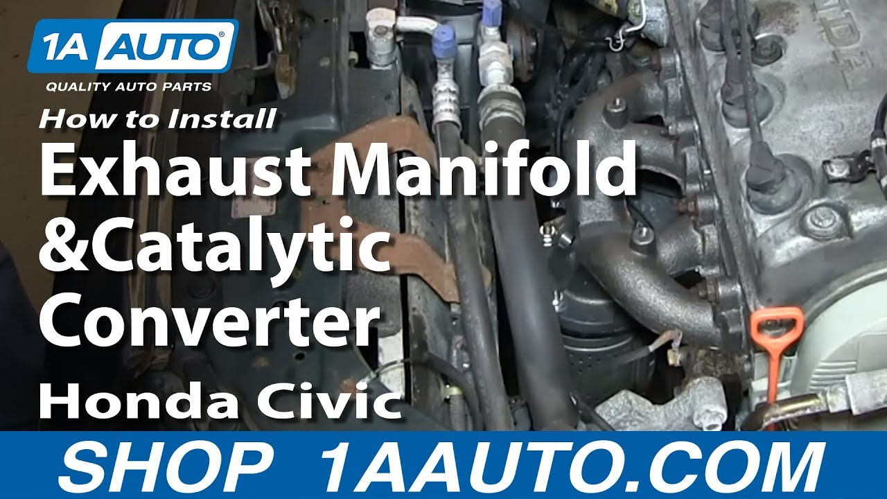 how to install replace exhaust manifold and catalytic converter 1996 2000 1 6l honda civic [ 1280 x 720 Pixel ]
