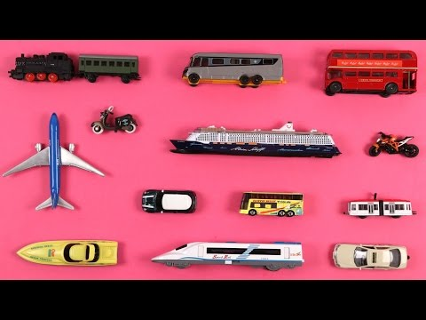 Learning Transport Vehicles For Kids Children Babies Toddler With School Bus Cars Train Taxi Bike