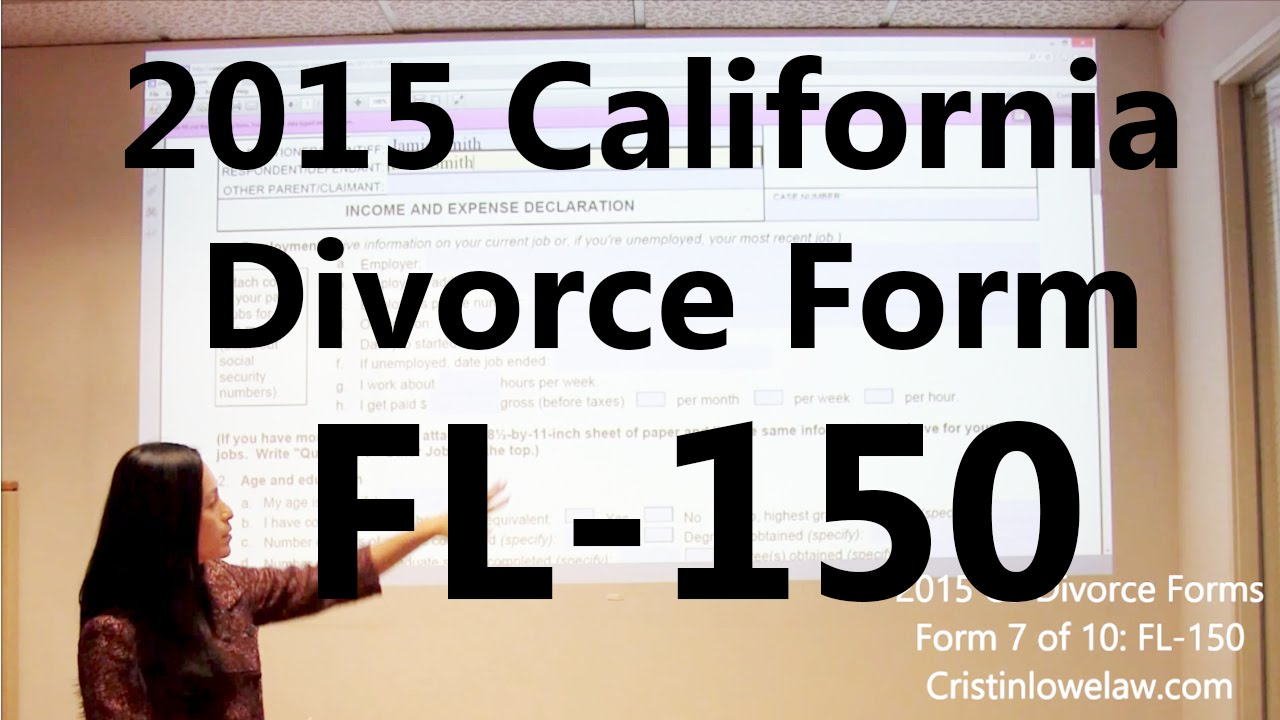 Filing California Divorce Forms: Form 7 of 10 the FL-150 - YouTube