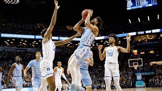 Luke maye (17 points, 10 rebounds) led five tar heels in double figures to help carolina defeat duke the acc tournament semifinals, 74-69.