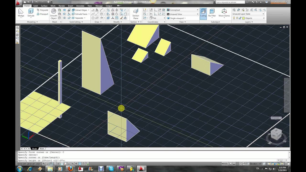 Autocad 3D modeling Part 7 Wedge