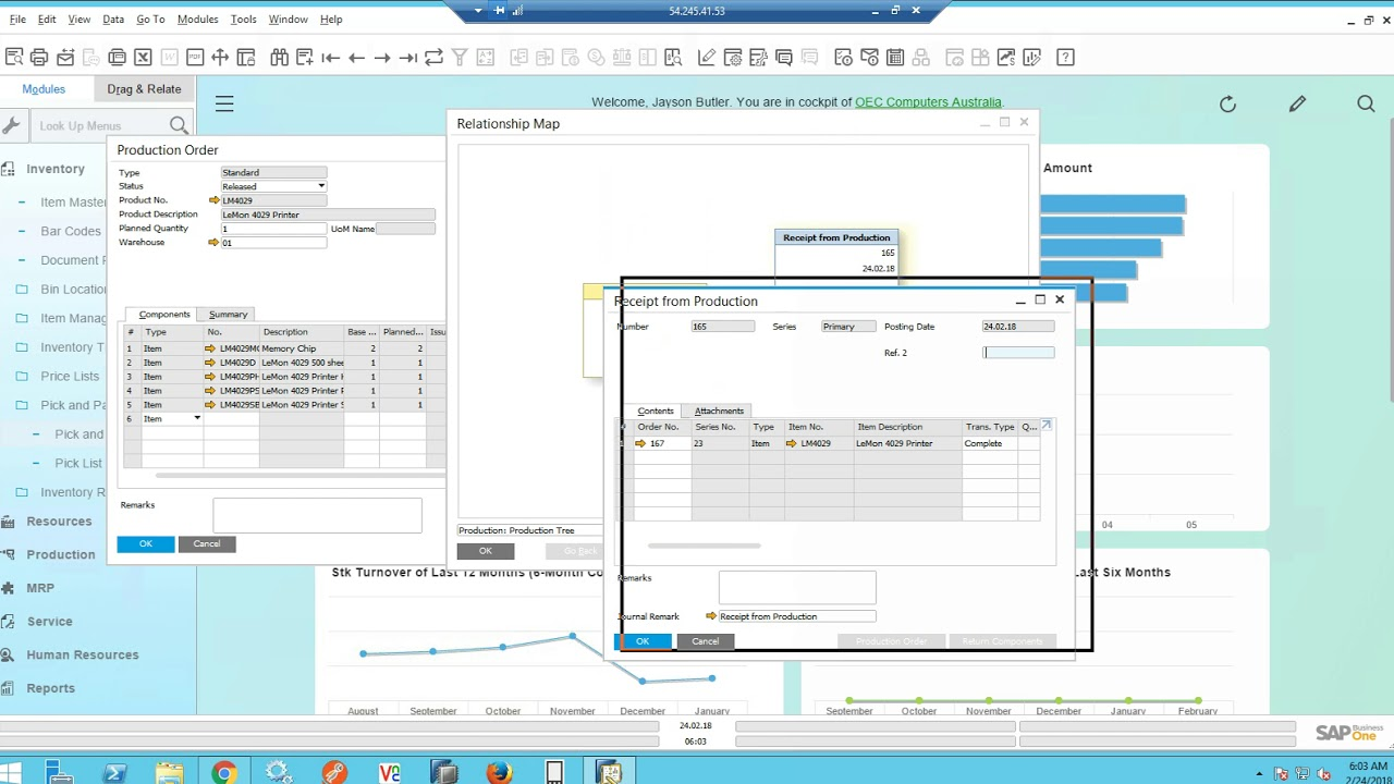 Webinar on scan picking a production order picklist with SAP Business One  HANA and with WMS