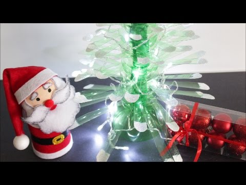 Diy christmas crafts ideas plastic bottles christmas tree for Craft ideas out of waste