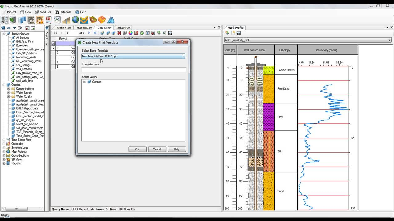 Hydro Geoanalyst 2013 Print Borehole Logs To Powerpoint Templates