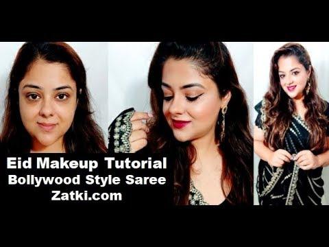 साड़ी के साथ ऐसे करें त्यौहार पे मेकअप| Festive Makeup with Black Georgette Saree | Zatki.com thumbnail