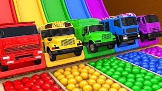Learn Colors with PACMAN VS Street Vehicle Playground and Excavator Magic Slide Farm for Kids