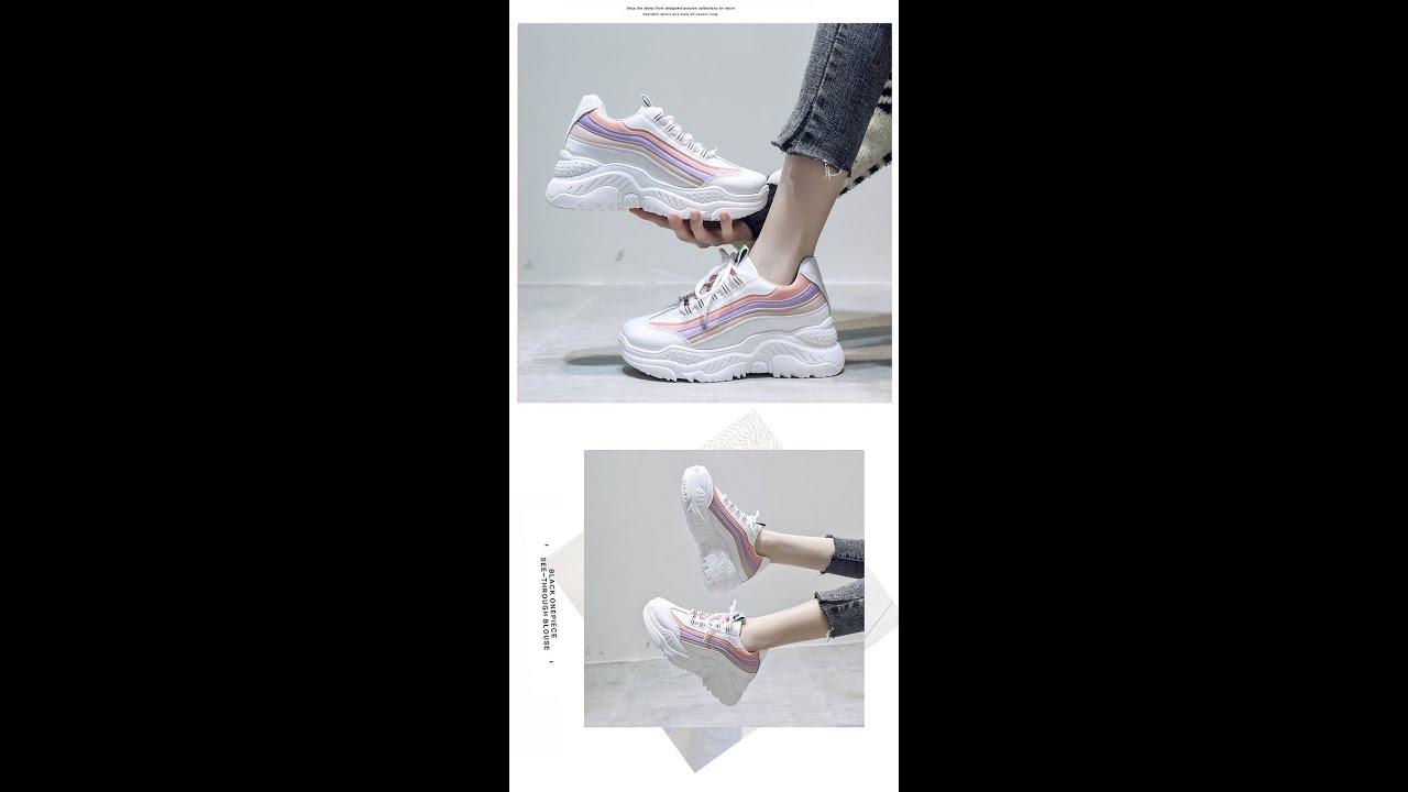 รองเท้าผ้าใบ รองเท้าแฟชั่น รองเท้าผ้าใบผู้หญิง เสริมส้น 5 ซม.