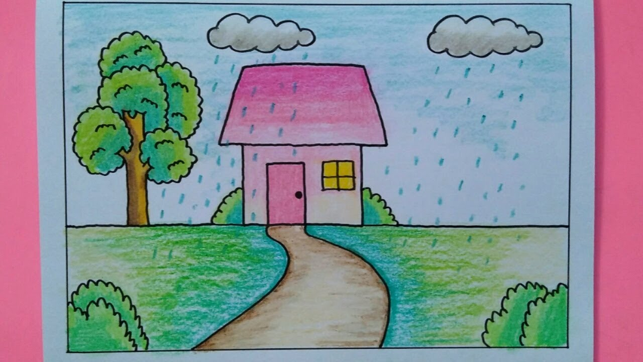 How To Draw Easy Scenery For Kids Rain Drawing Youtube