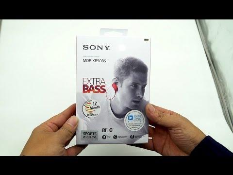 Mở hộp tai nghe Sony MDR-XB50BS Extrabass, NFC, Bluetooth, chịu nước IPX4