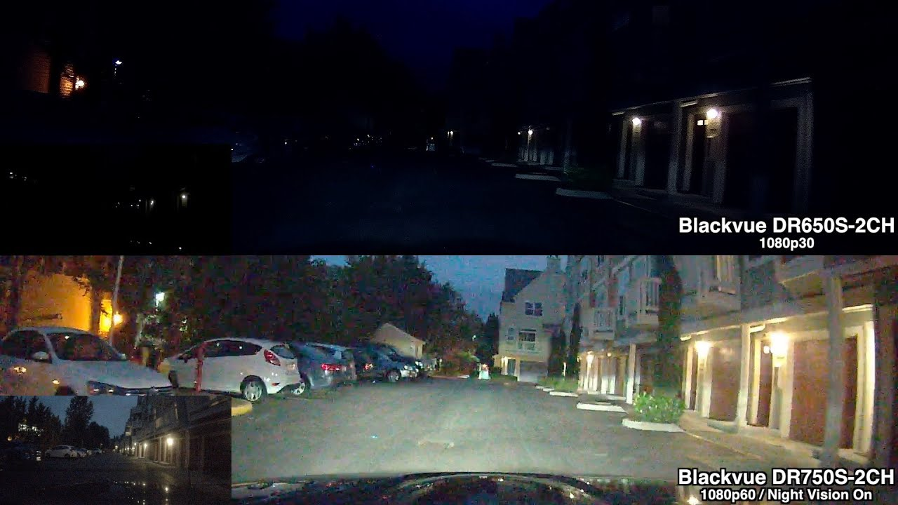 Blackvue DR650S-2CH vs. DR750S-2CH: Nighttime Video Comparison Footage w/ Night Vision enabled