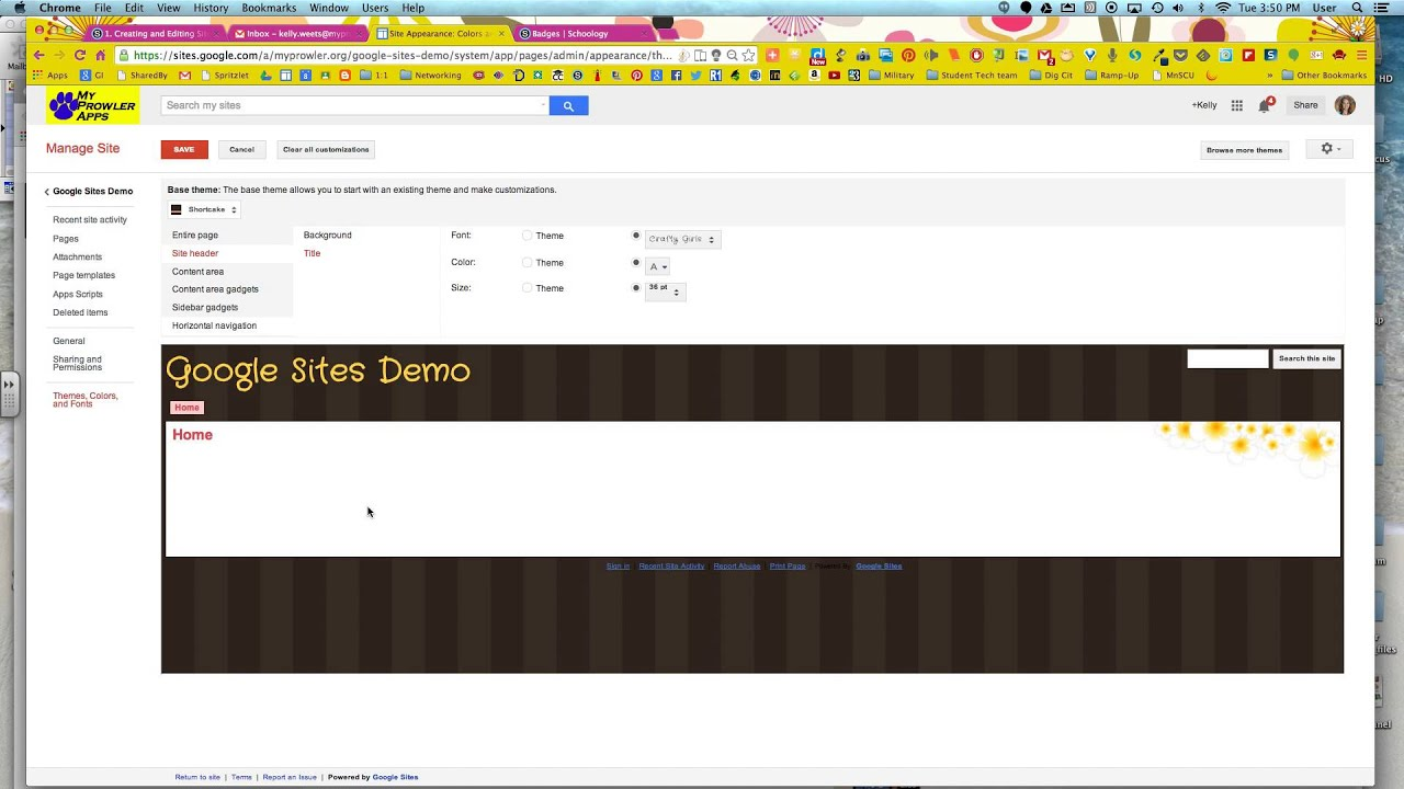 changing themes colors and fonts in google sites youtube