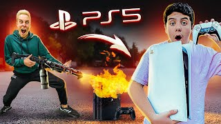 Destroying Kids PS4 & Surprising Him With NEW PS5 !