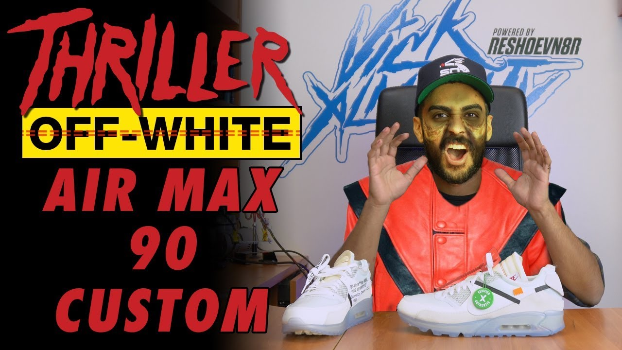 buy online 33c33 4aa19 Off-White Air Max 90 Michael Jackson Thriller Custom by Vick Almighty