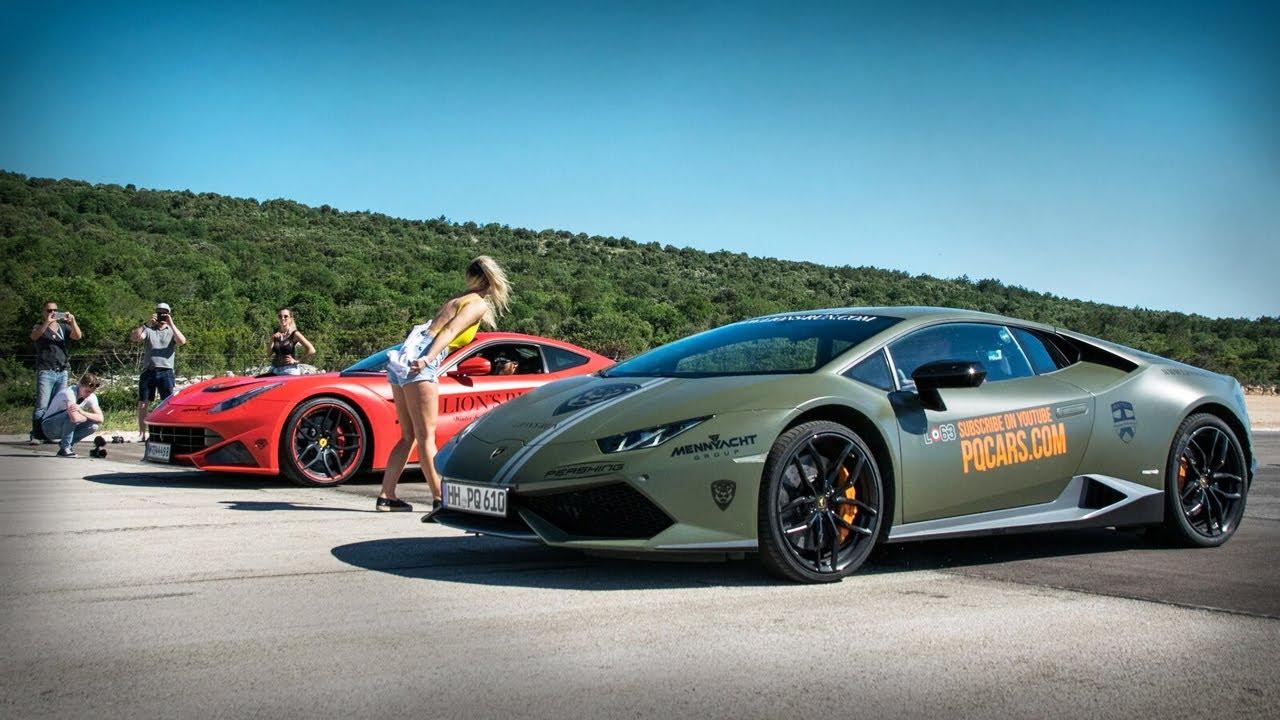 Ferrari F12 N Largo Vs Lamborghini Huracan Drag Races Day11