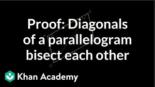 Proof: Diagonals of a parallelogram bisect each other | Quadrilaterals | Geometry | Khan Academy