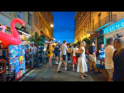 Walking Nice, France at Sunset/Night - Beach Promenade & Restaurant-lined Streets