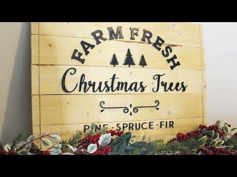 DIY Christmas Tree Wooden Sign | Rustic Christmas Decor