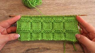 🆓 Узор «Квадраты» спицами | «Squares» knitting pattern